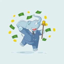 Vector Stock Illustration isolated Emoji character cartoon happy wealth riches elephant sticker emoticon jumping for joy money celebrate profit dollar earning income salary infographic motion design