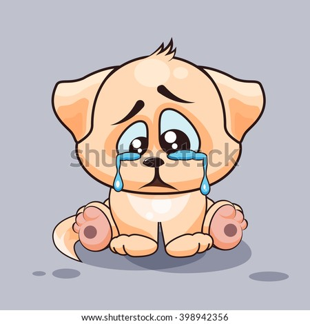 Vector Stock Illustration isolated Emoji character cartoon sad and frustrated dog crying, tears sticker emoticon for site