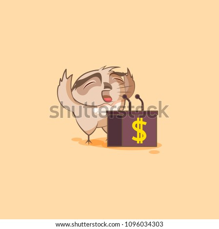 Vector Stock Illustration isolated Emoji character cartoon wealth riches owl sticker emoticon training presentation orator speaker behind podium money celebrate profit dollar earning income salary