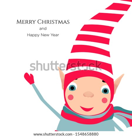 Vector stock illustration with cute christmas elf in striped red hat waving hand, greeting. Template for merry christmas and new year cards, greetings, banners or posters.