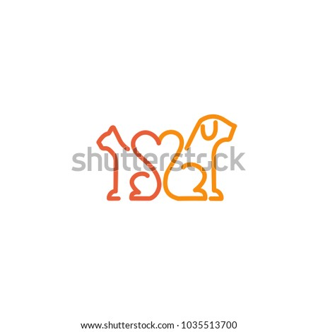 Vector stock logo, abstract animal sign. Illustration design outline, minimalist logotype for veterinary. Vector icon dog and cat.