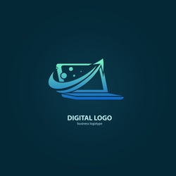 Vector stock logo, abstract digital technology vector template. Illustration design of logotype business web marketing. Vector computer web icon.