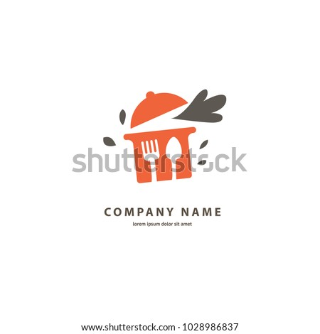Vector stock logo, abstract food vector template.  Illustration design of silhouette logotype cafe. Vector icon pan .