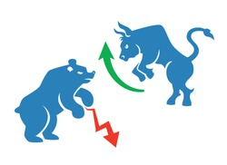 vector stock market icons, bear and bull with red and green arrows