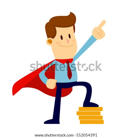 Vector stock of a superhero businessman standing proud wearing a red cape