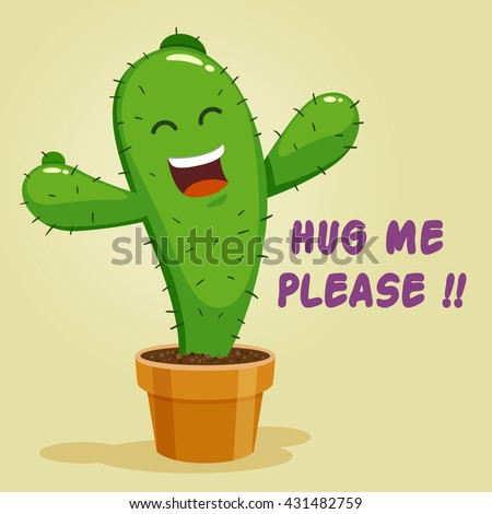 Vector stock of cactus cartoon character asking for a hug