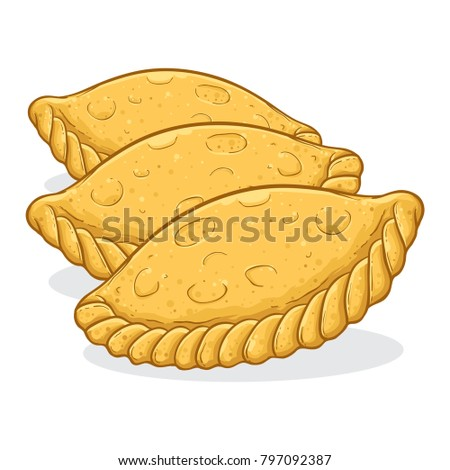 Vector stock of kue pastel indonesian traditional food made from flour with meat or vegetables filling