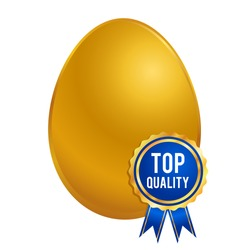 Vector stock of shiny golden egg with top quality ribbon, seal or brand