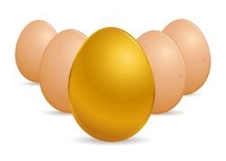 Vector stock of special golden egg in front of regular eggs