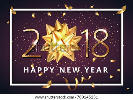 Vector stock premium luxury 2018 Happy New Year background with beautiful golden gift bow, confetti and Christmas elements #780145231