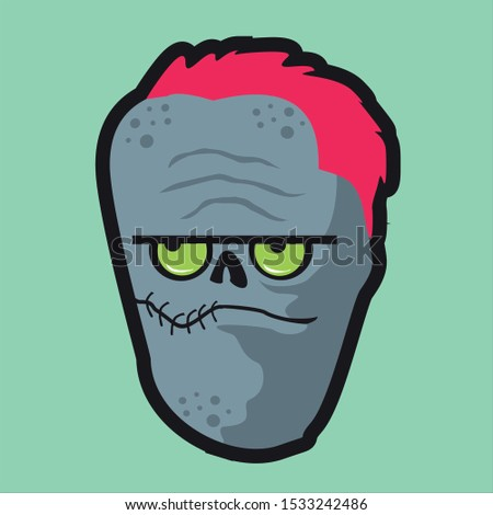 Vector Stock Zombie Head. Vector Zombie Head Illustration
