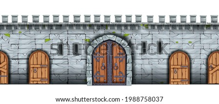 Vector stone castle wall seamless background, medieval brick palace fortification texture, wooden city gate. Ancient fortress game illustration, entrance arch, door, loophole. Castle wall front view Photo stock ©