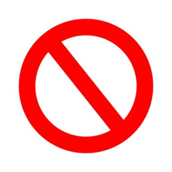 vector stop sign icon. No sign, red warning isolated