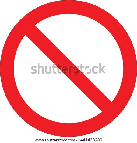 Vector stop sign icon. Red no entry sign. No sign, red warning isolated.