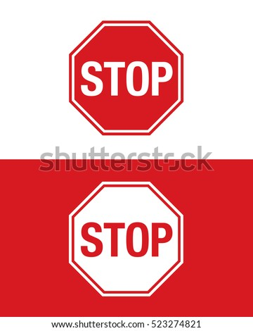 Vector Stop Sign Set
