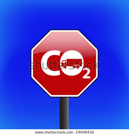 vector stop sign with sky in background - CO2 - GLOBAL WARMING concept