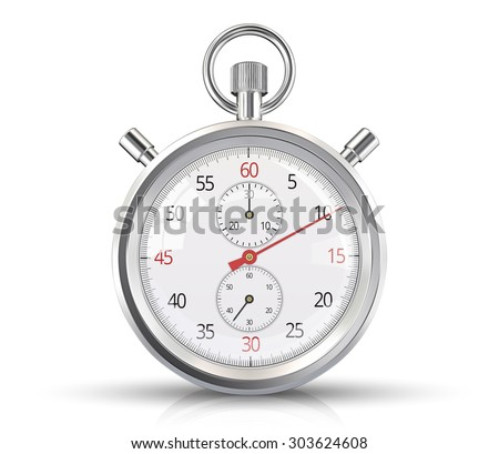 Vector Stopwatch. Classic stopwatch Vector EPS 10. Glass reflections, ground shadow and refection.