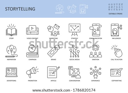 Vector storytelling icons. Editable stroke. Story content marketing strategy, campaign advertising brand social media. Conversation promotion article inspiration, copywriting call to action influencer Foto stock ©