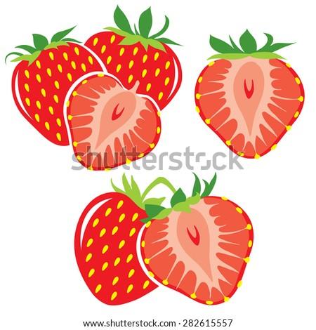 vector strawberries cut