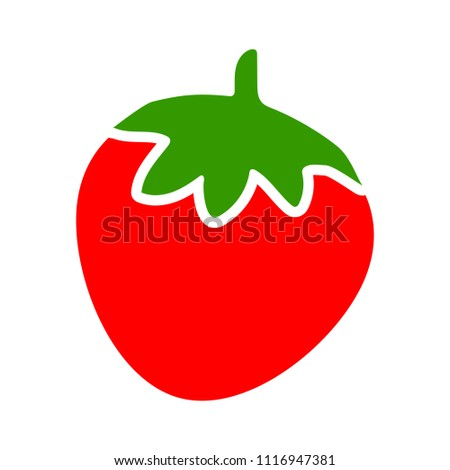 vector strawberry illustration, sweet nutrition symbol - fresh, healthy and organic