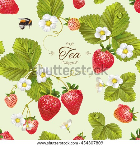 vector strawberry tea seamless