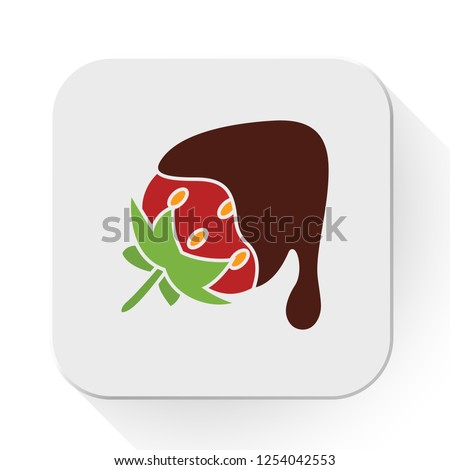 vector strawberry with chocolate icon. Flat illustration of strawberry. sweet chocolate isolated on white background. chocolate strawberry sign symbol - dessert icon