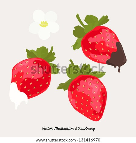 Vector Strawberry with milk and chocolate Illustration