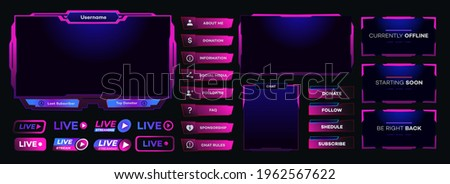 Vector streaming screen panel overlay game template neon theme. Live video, online stream futuristic technology style. Abstract digital user interface. Live streaming button. Vector 10 eps