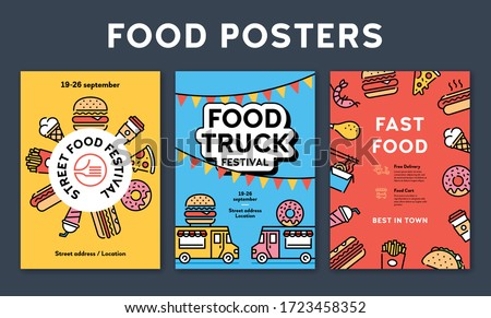 Vector street food banner concept with place for text. Line fastfood poster invite illustrations. Flat take away background templates. Modern icon flyer design for festival, market, party, barbecue Сток-фото ©