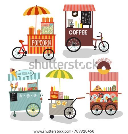 Vector street food. Fast, street food beautiful vector illustration. Delicious food. Street Food Vehicles, Truck, Van, Pushcart, Color Set