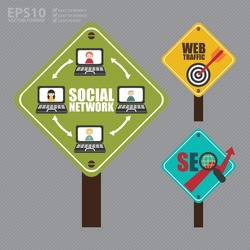 Vector : Street Sign With Social Network Diagram, Web Traffic and Dart Hitting a Target Bullseye and SEO With Rising Arrow