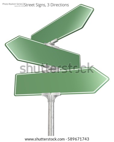 Vector Street Signs. Vector of 3 way Street Signs pointing in opposite directions. Blank for Copy Space.