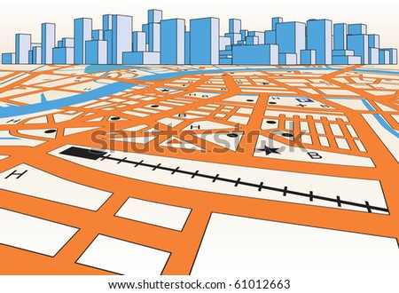 Vector streetmap of a generic city plus skyline