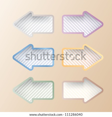 vector striped arrows in six colors