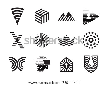 vector striped  logo design set