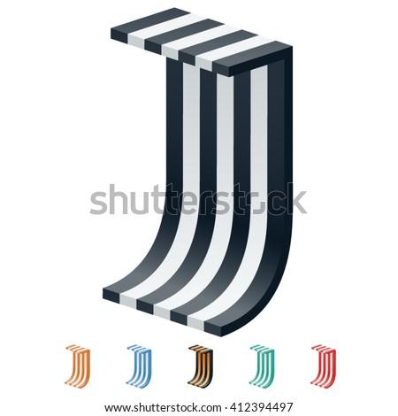 vector stripped 3d alphabet