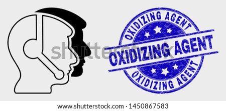 Vector stroke call service operators icon and Oxidizing Agent seal stamp. Blue round grunge seal stamp with Oxidizing Agent text. Black isolated call service operators icon in outline style.