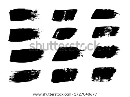 Vector Stroke. Set of Black Ink Strokes. Grunge Dirty Stylish Elements. Vector Grunge Stripes. Modern Textured Paint. Freehand Design. Distressed Banner. Geometric Shapes. Black Brush Strokes.