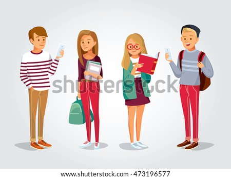 vector students with gadgets and books