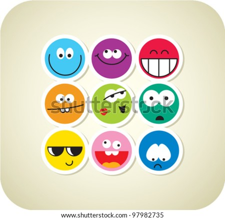 vector style smile face icons