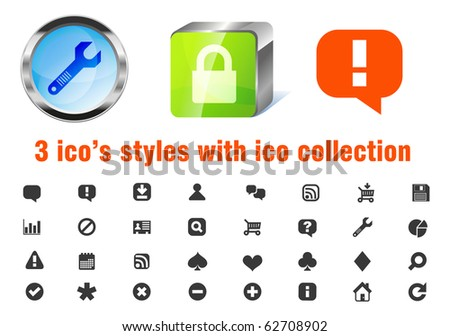 Vector 3 styles of 32 web 2.0 applications icons pack. Blue glass circle, green sleek cube and flat. Support, chat, rss, upload, shopping cart, search, playing cards suites, calendar, report and more.