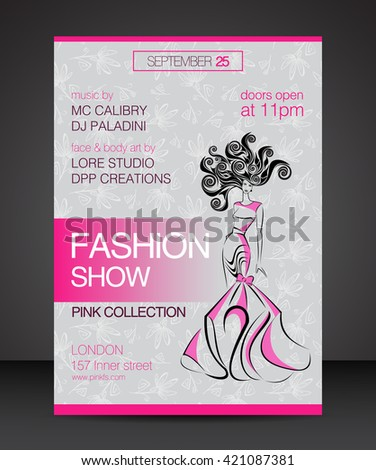Vector stylish banner, party poster and flyer, brochure design template for fashion show with silhouette of beautiful woman in evning dress and hairdress, voluminous hair, curls. A4 Printed material