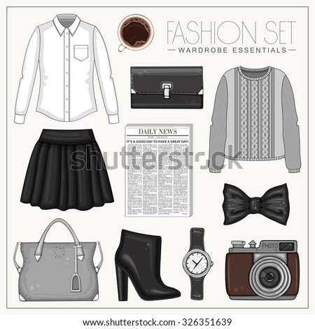 vector stylish fashion set of