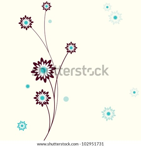 Vector stylish retro colorful floral background