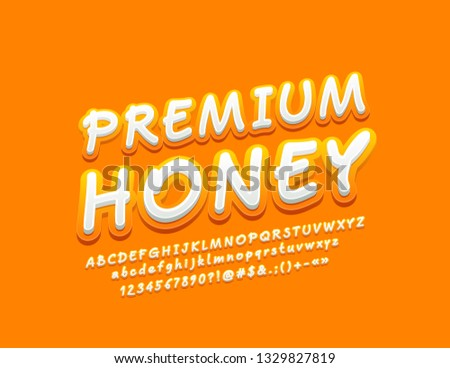 Vector stylish Sign Premium Honey with modern Yellow Font. Funny rotated Alphabet Letters, Numbers and Symbols. #1329827819