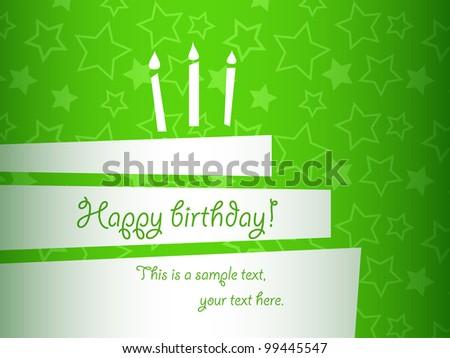vector stylized birthday cake card, EPS10 - stock vector