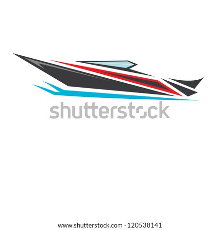 vector stylized black yacht