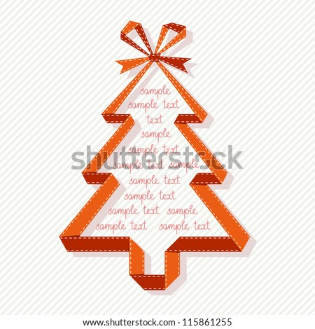Vector stylized christmas tree made from red paper ribbon with bow. Origami modern simple background with text box for presentation. Original greeting, invitation card. Abstract drawing illustration