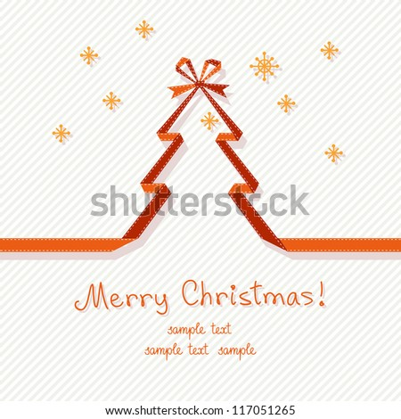 Vector stylized christmas tree made from red paper ribbon with bow. Origami modern simple banner with snowflakes and lettering - Merry Christmas. Original greeting card. Abstract drawing illustration