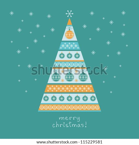 Vector stylized christmas tree with balls and snowflakes. Blue winter background with lettering - Merry Christmas. Holiday invitation and greeting card. Abstract drawing ornamental illustration